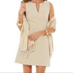 Lilly Pulitzer Brielle Metallic Gold Striped Dress